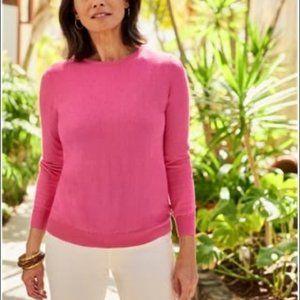 J. Crew 100% Merino Wool Pink Tippi Sweater Small Fushia 3/4 Sleeve Crew Neck S
